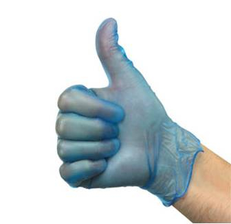 Vinyl Powdered Blue Gloves - Box