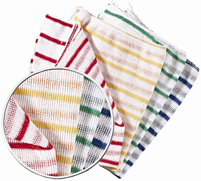 White Dishcloths with Stripes