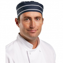 Whites Chefs Skull Cap Blue and White Butchers Stripe