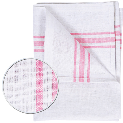 Cotton Tea Towels with Assorted Colour Borders x 10