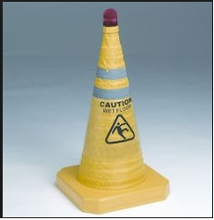 Yellow Collapsible Caution Cone with Red LED Light