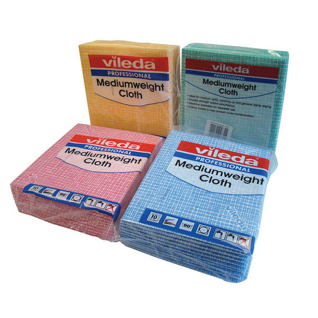 Vileda Professional Medium Weight Cloth - Red x 10