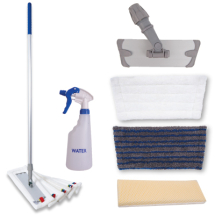 Microtex Complete Mop Kit RED 5 mops, 1 holder and 1 handle