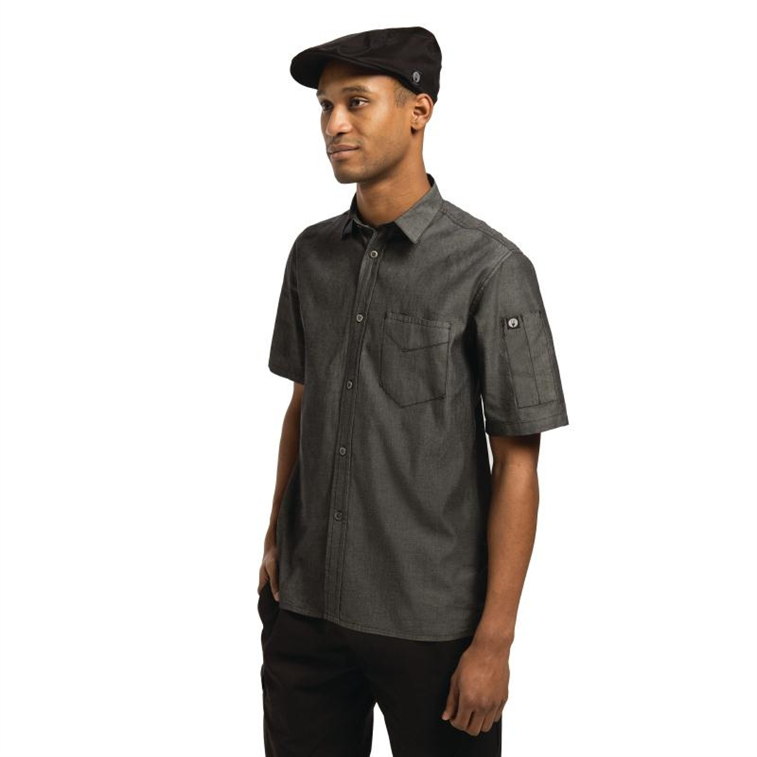 Chef Works Unisex Detroit Denim Short Sleeve Shirt Black M