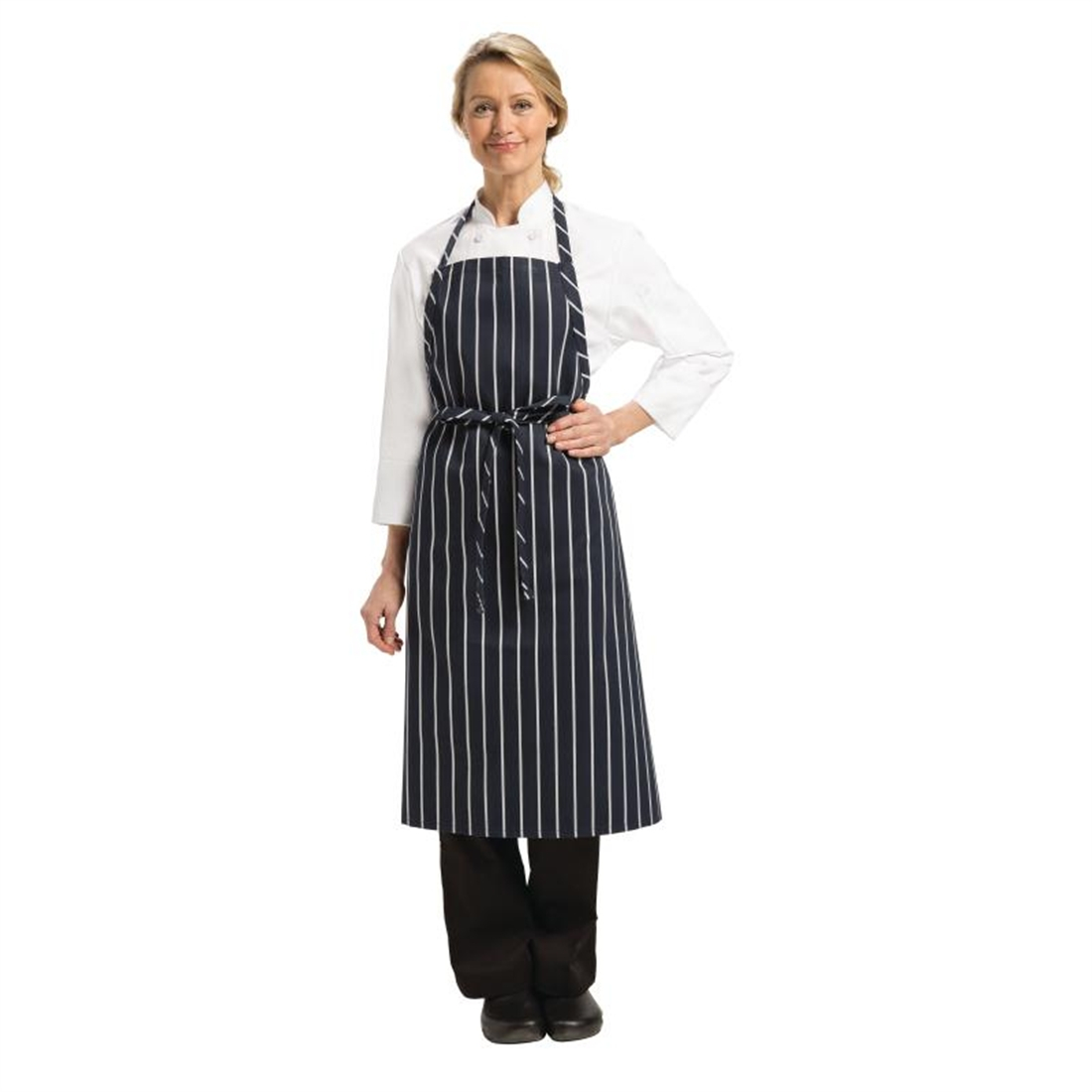 Chef Works Premium Woven Bib Apron Navy and White Stripe