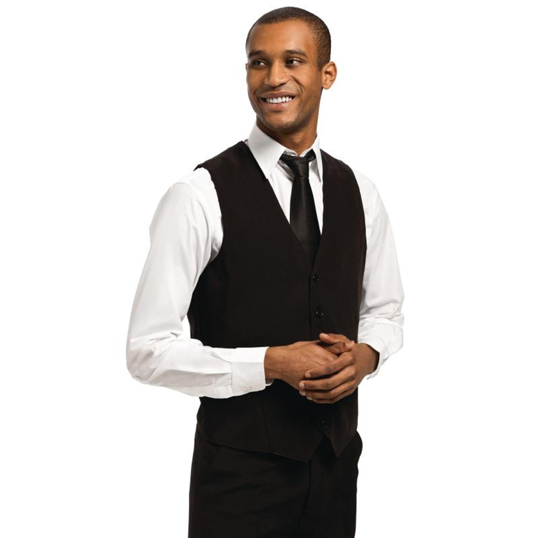 Mens Waistcoat Black with Black Buttons Size XL