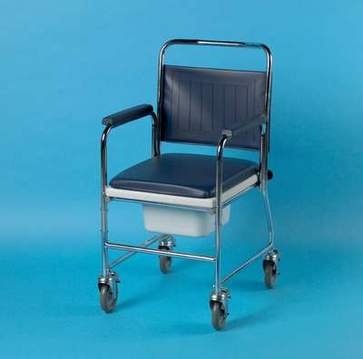 Mobile Commode With Push Handle and Square Bowl