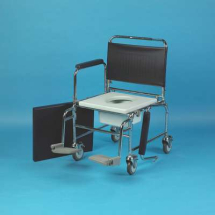 Wheeled Commode Chair With Foot Rests
