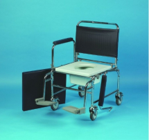 Deluxe Adjustable Height Mobil le Commode c/w swing arm rests