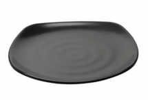 Fusion Melamine Square Plates Black 250mm - Box of 6