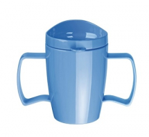 Heritage Double Handled Mugs With Lid 300ml - Box of 4 Blue