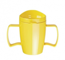 Double Handled Mug with Lid 300ml - Yellow - Box of 4
