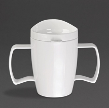 Heritgae Dbl Handled Mug w/Lid 300ml White - Box of 4