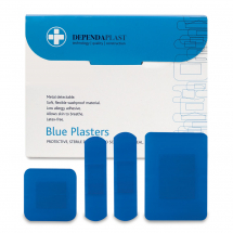 Dependaplast Blue Food Plaster Box of 100 assorted sizes