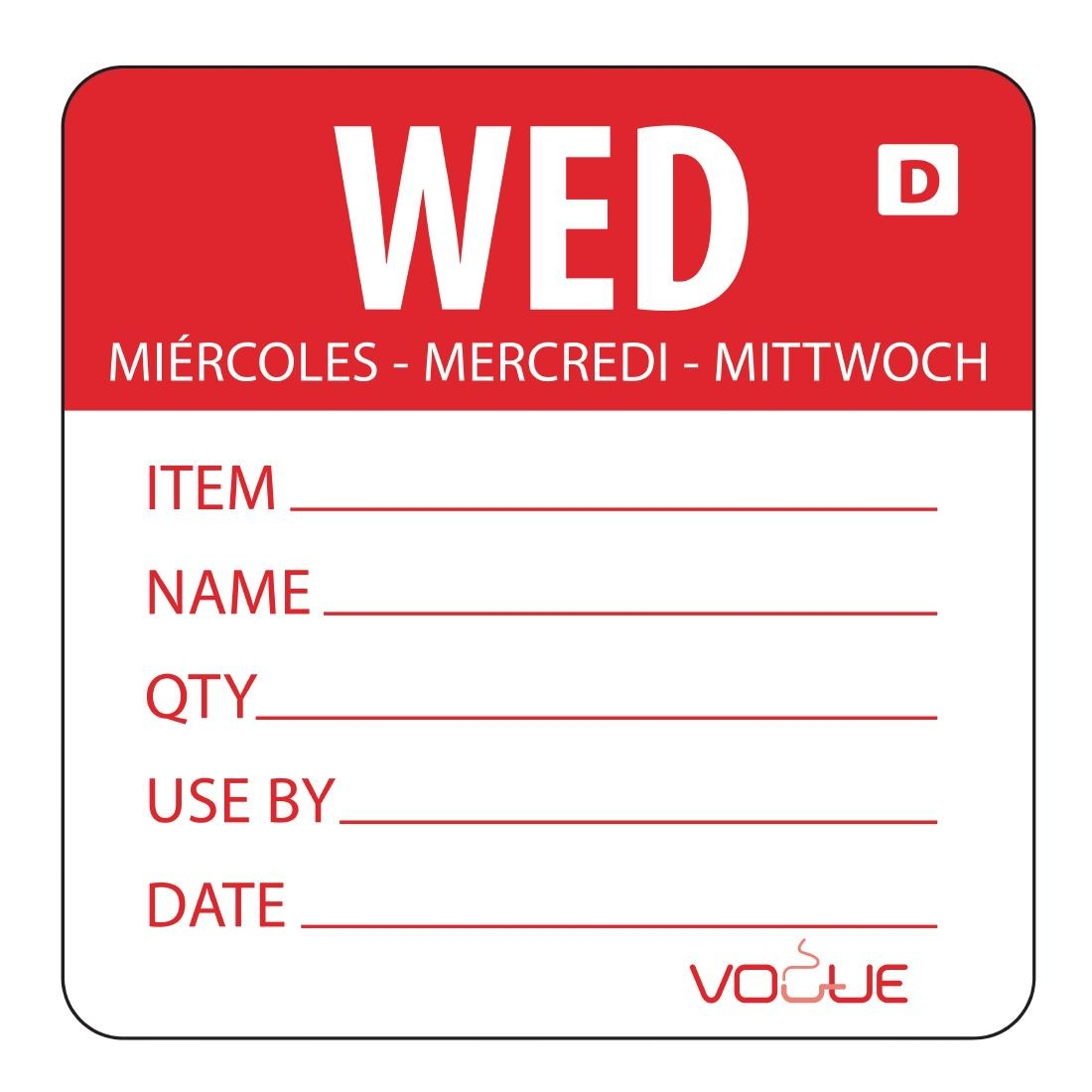 Vogue Dissolvable Day of the Week Labels Wednesday