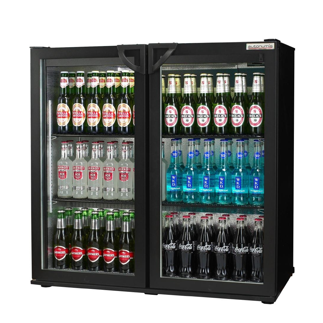 Autonumis Popular Double Hinged Door Maxi Back Bar Cooler Black A21011