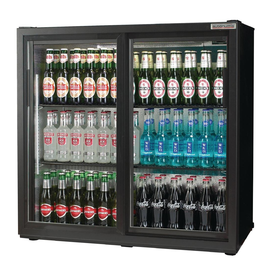 Autonumis Popular Double Sliding Door Maxi Back Bar Cooler Black A21012