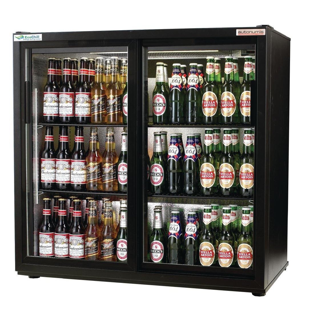 Autonumis EcoChill Double Sliding Door 3Ft Back Bar Cooler Black A215127