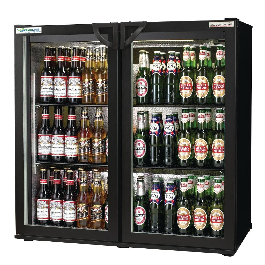 Autonumis EcoChill Double Hinged Door Maxi Back Bar Cooler, Black A21062