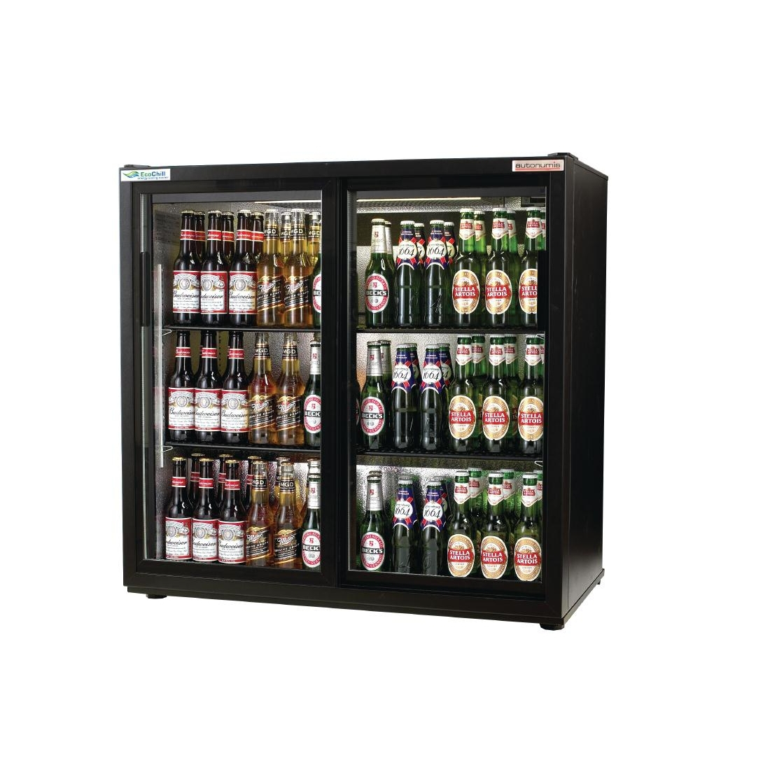 Autonumis EcoChill Double Sliding Door Maxi Back Bar Cooler, Black A21073