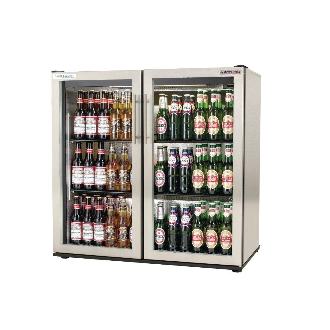 Autonumis EcoChill Double Hinged Door Maxi Back Bar Cooler, St/St A21013