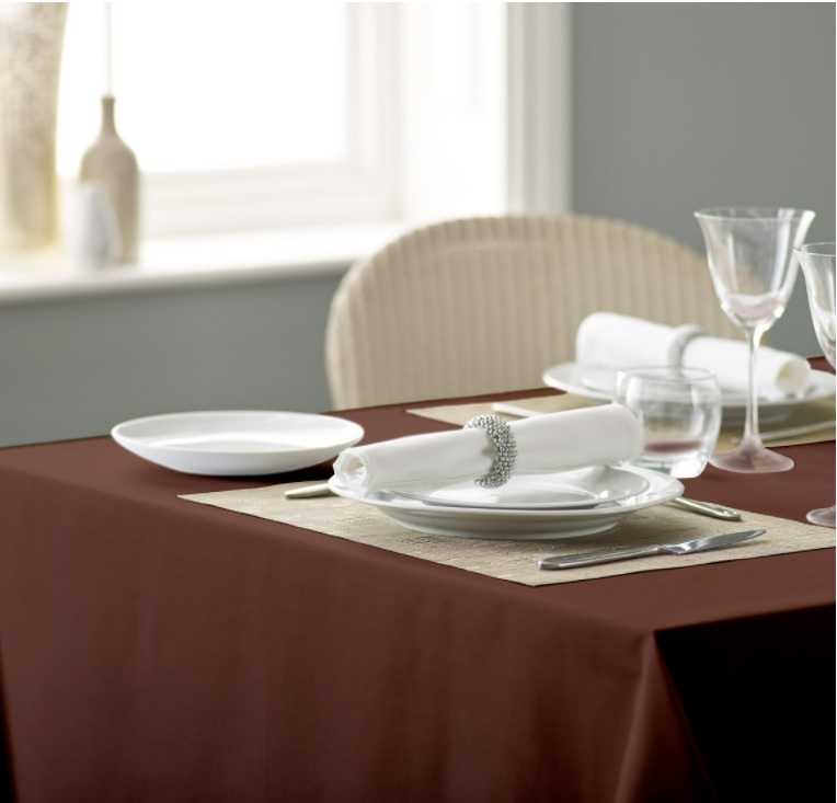 Alpha Plain Tablecloth Cocoa 54inch x 54inch square