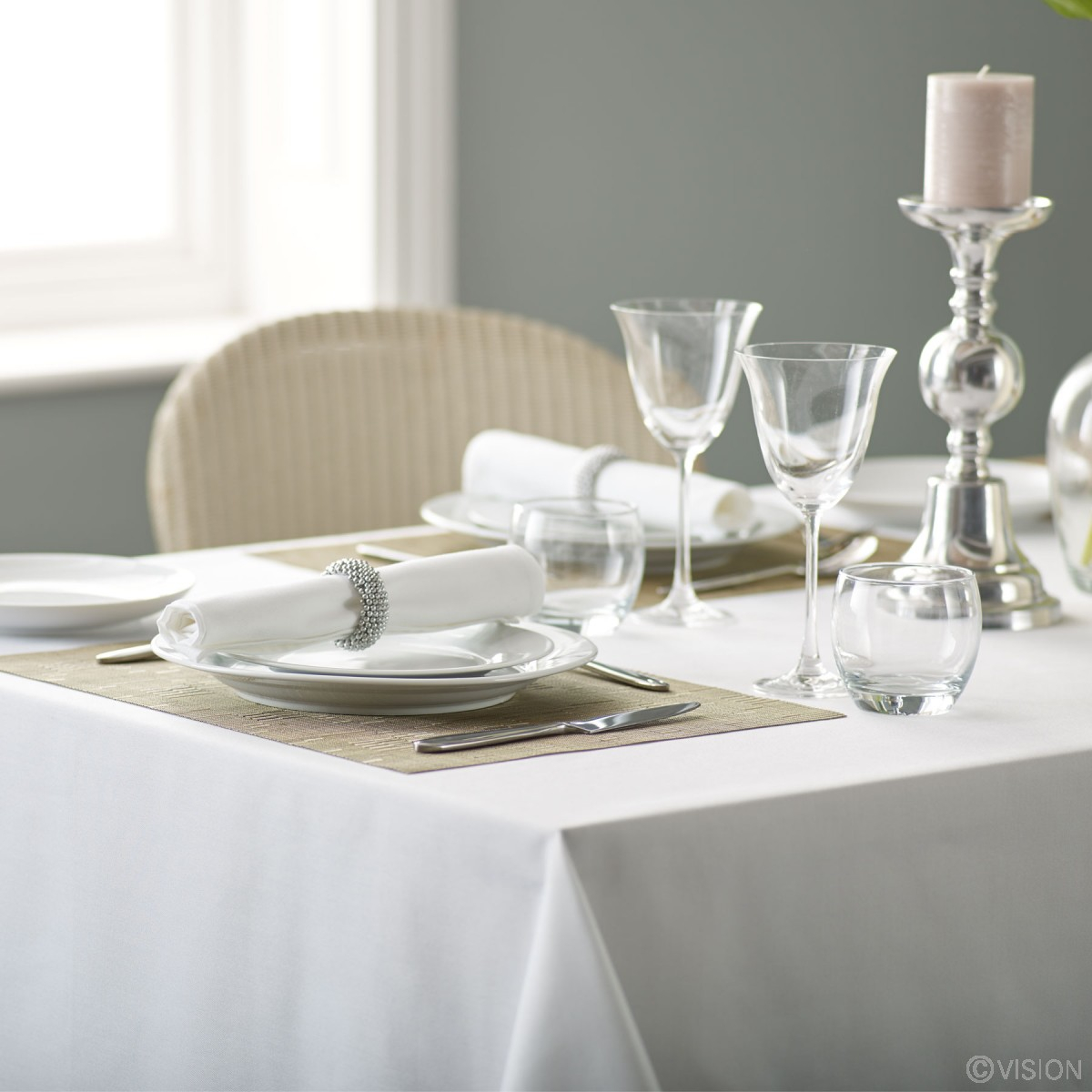 Alpha Plain Table Cloth White