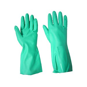 12 Pack - Flocklined Nitrile Glove Large-Chemical Cleaning