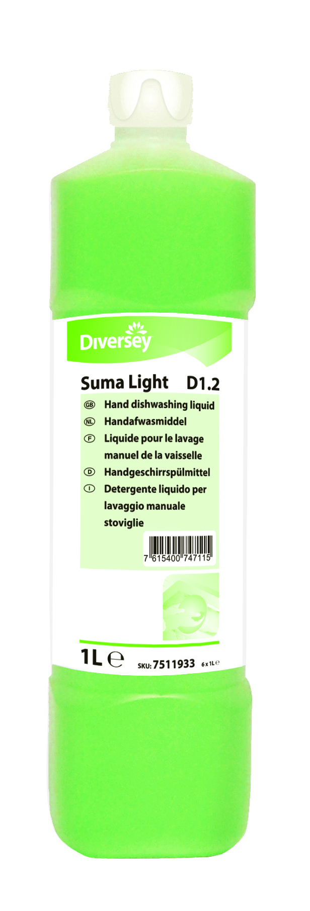 Suma Light D1.2 Washing Up Liquid - 6 x 1L