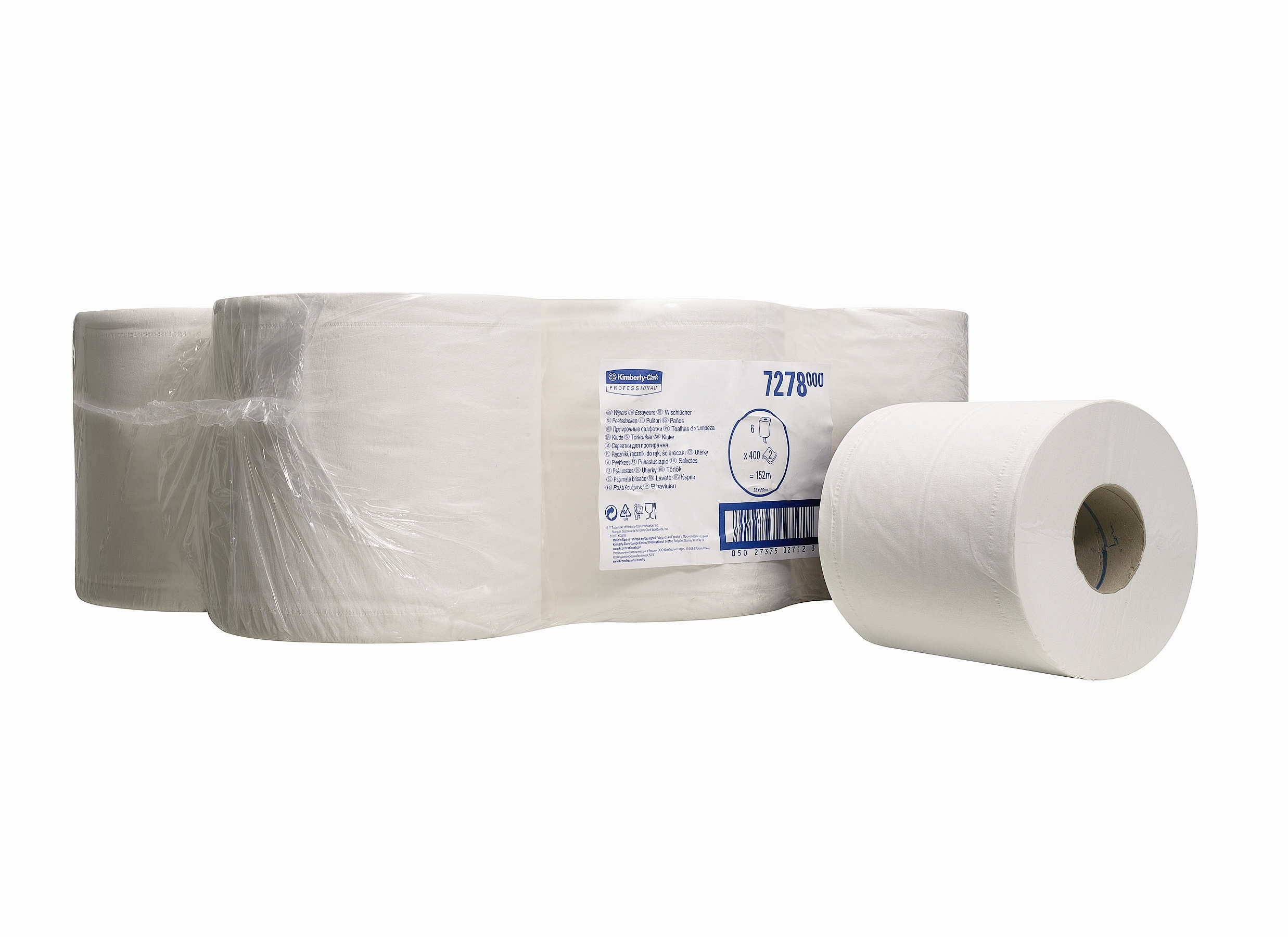 KC Centre Feed Rolls White x 6 6 152m x 19.5 cm 7278