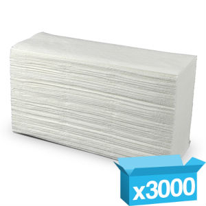 Z Fold White Hand Towels 2 Ply - 3000 Sheets