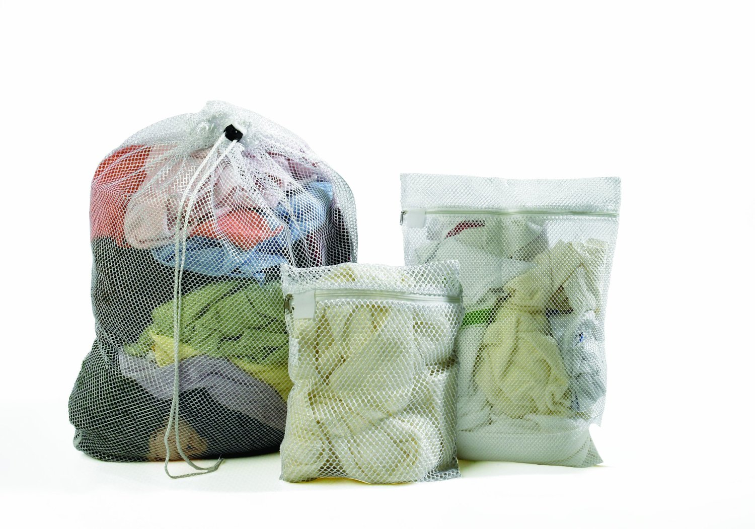 Mesh Laundry Bags With Drawstring - White