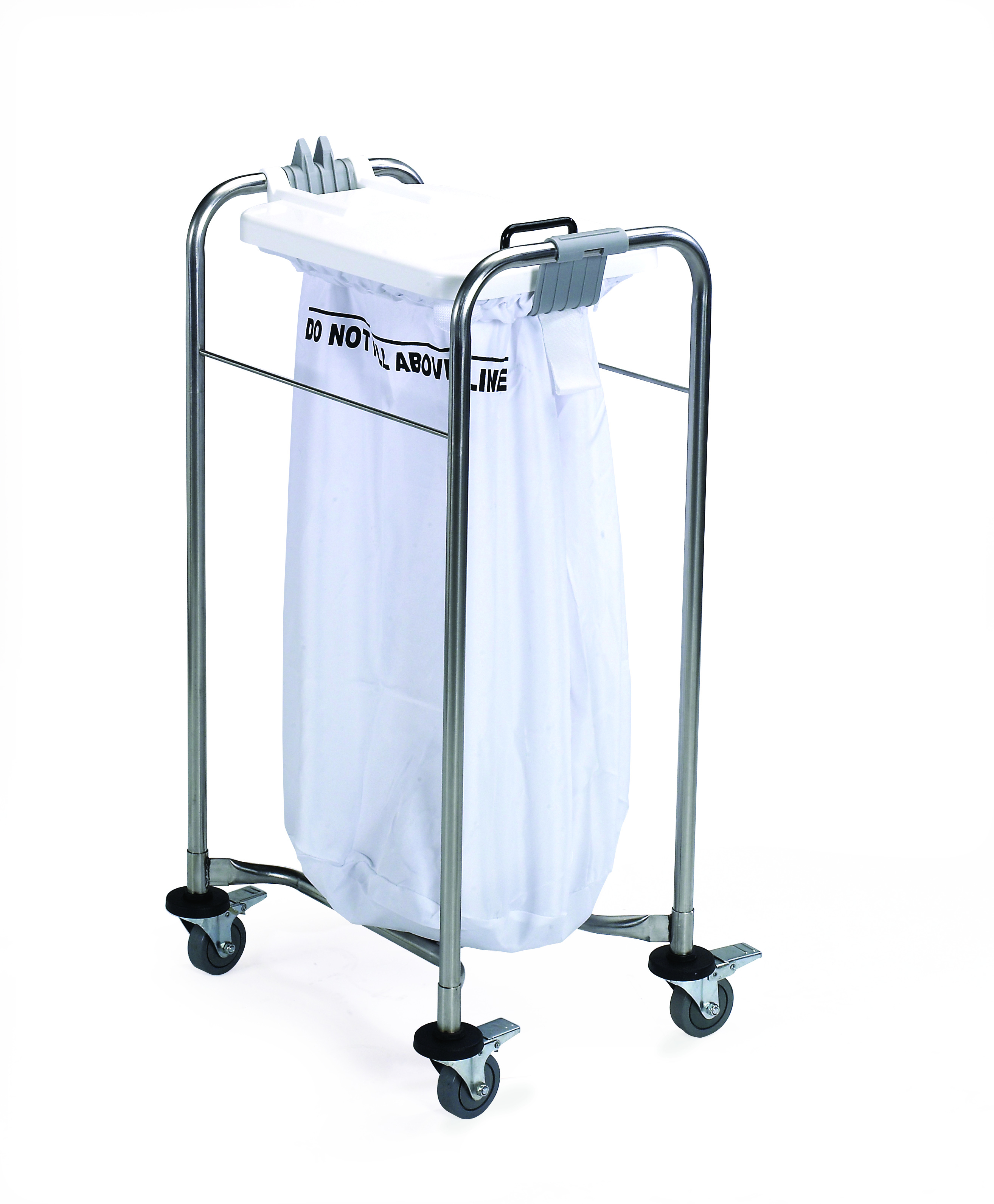1 Bag Stainless Steel Laundry Cart with White Lid