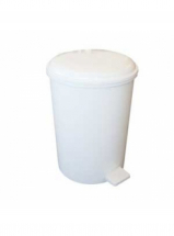 6 Litre Bathroom Pedal Bin White Plastic