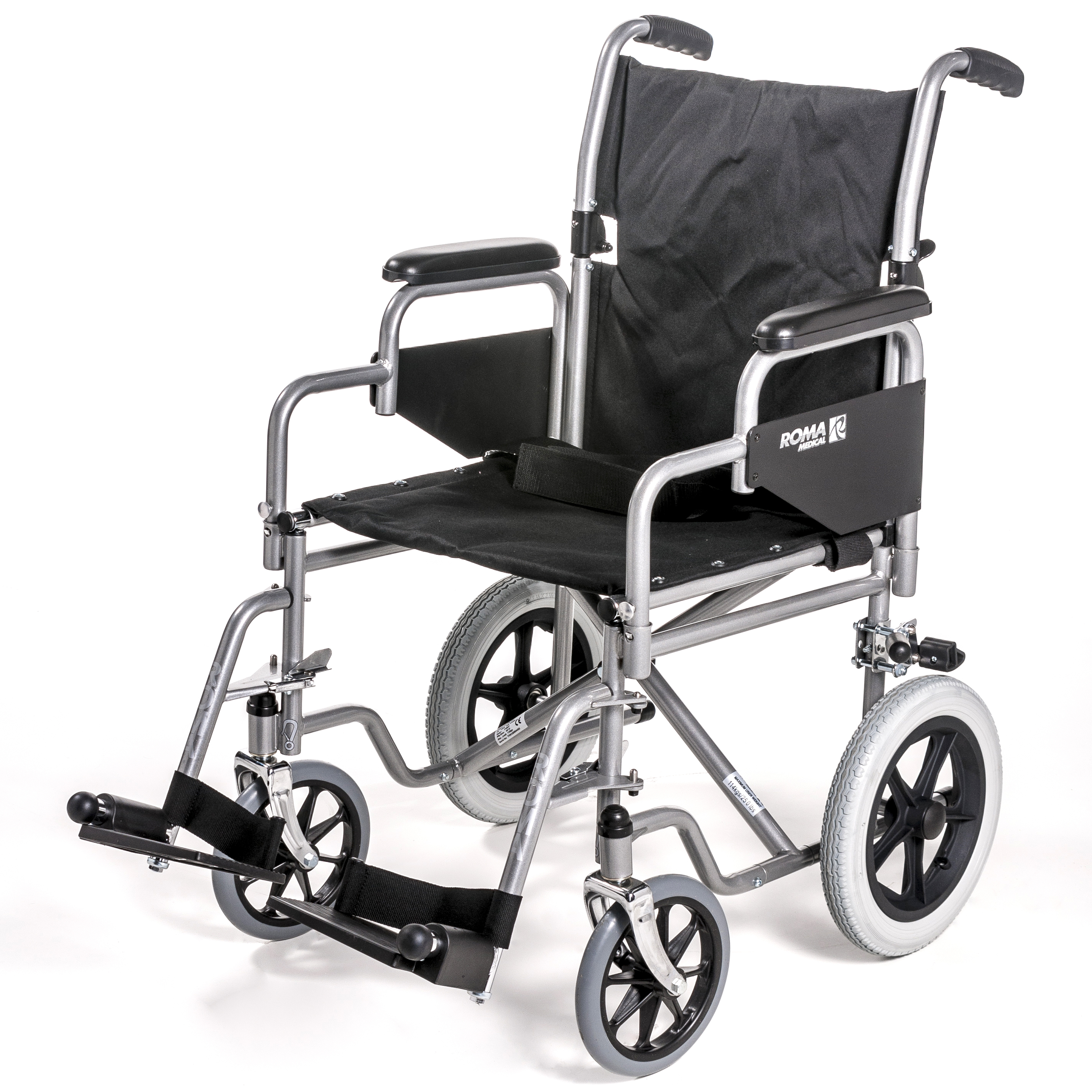 Car Transit Wheelchair - Detachable Arms & Foldaway Footrests