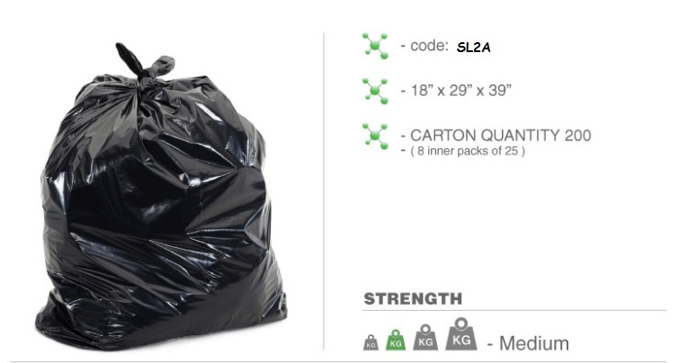 Heavy Duty Black Bin Bags x 200