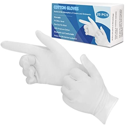 White Cotton Gloves x 10 Pair