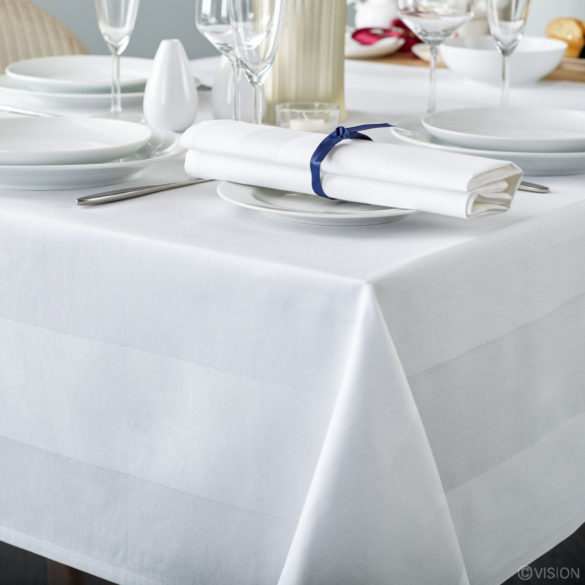 Square Table Cloth 137x137cm (48x48in) - Satin Band White
