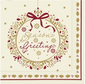 Seasons Greeting Napkins 40 x 40cm, 3Ply (Pack of 100)